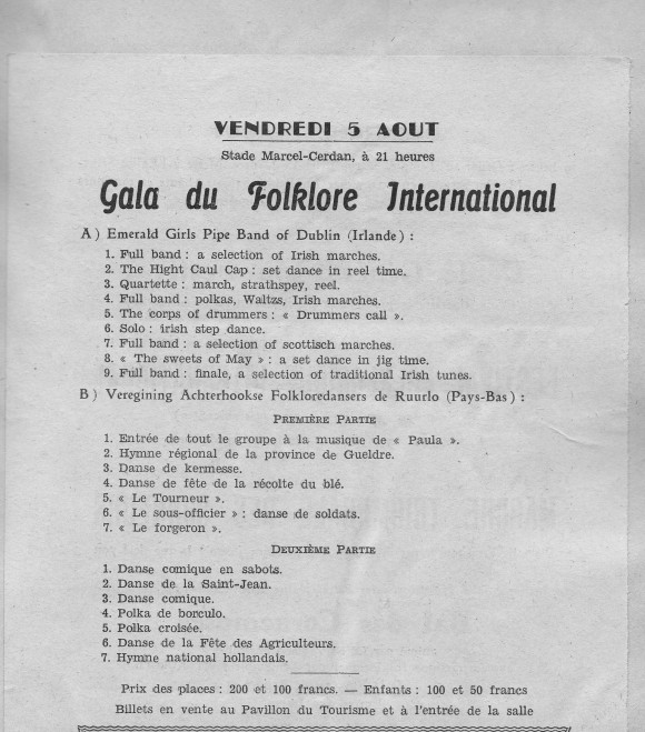 Programma Gala du Folklore International